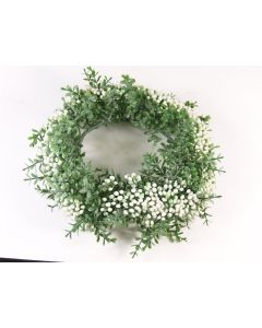 Wreath With White Berries Artificial Silk Flowers Decoration (4046)