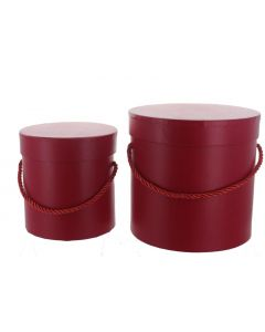 Round Florist Flower Hat boxes Set of 2 Red (4636)