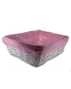 Set of 3 Rectangular Wicker Baskets With Fabric Lining Blue (4582)