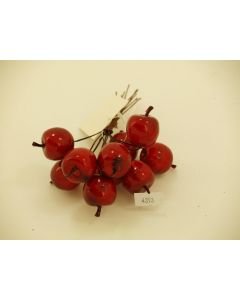 100 Red Christmas Apples on Wire  (4393)