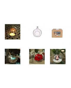 6 Glass 8cm Balls For Tealight Clear (3821)