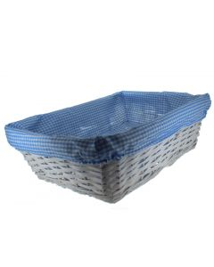 Set of 3 Rectangular Wicker Baskets With Fabric Lining Blue (4581)