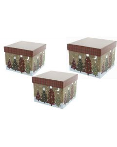 Florist Lined Flower Hat boxes Christmas Theme Tartan Tree Set of 3 (4740)