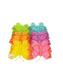 12 Feather Glittered Artificial Butterflies Wedding Party Flower Arrangement 8cm (4278)