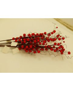6 Christmas Red Berrie Sprays On Wire (4394)