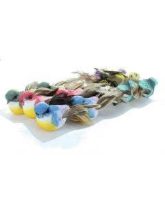12  Artificial Feathered Birds Clips (4445)